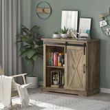 """Gracie Oaks 32"""" Farmhouse Sliding Barn Door Wood Accent Chest Home Coffee Station Buffet Storage Cabinet In Oak, Size 31.5 H x 31.9 W x 15.7 D in"""
