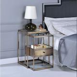 17 Stories Nesting Table Set (2pc Pk) In Antique Brass & Clear Glass Wood in Brown, Size 18.0 H x 15.0 W x 26.0 D in | Wayfair