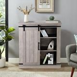 Gracie Oaks 32 In. Gray 1 - Door Barn Sliding Accent Cabinet in White, Size 34.0 H x 31.5 W x 15.5 D in   Wayfair A8EE47AFE44D429692C6FDE1D8D793D6