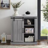 Gracie Oaks 32 In. 1 - Door Barn Sliding Accent Cabinet in Gray, Size 34.0 H x 31.5 W x 15.5 D in   Wayfair F8C4BEBCA3674AE2A4BBAD6CB29972E1
