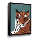 Rosdorf Park Colorful Tiger On Teal Gallery Canvas & Fabric in White, Size 36.0 H x 24.0 W x 2.0 D in   Wayfair 6A17AFD597174D28AEA76D2AC219AAC3