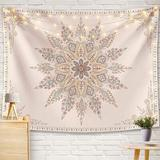 East Urban Home Bohemian Tapestry Wall Hanging, Beige White Floral Tapestry w/ Medallion Print Bedroom Boho Home Decor, Whitesimple in Pink | Wayfair