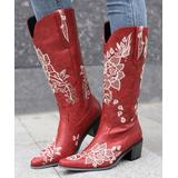 BUTITI Women's Western Boots RED - Red & White Floral Embroidered Cowboy Boot - Women