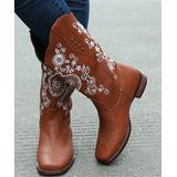 YASIRUN Women's Western Boots Brown - Brown & White Floral Embroidered Cowboy Boot - Women