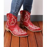 RXFSP Women's Western Boots Red - Red Leather Cowboy Ankle Boot - Women