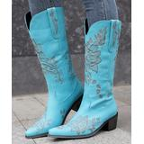 BUTITI Women's Western Boots BLUE - Blue & Gray Floral Embroidered Cowboy Boot - Women