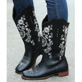 YASIRUN Women's Western Boots Black - Black & White Floral Embroidered Cowboy Boot - Women