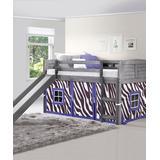 Donco Kids Beds Antique - Antiqued Gray & Purple Zebra Louver Tented Loft Bed & Slide