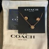 Coach Jewelry   Coach Tea Rose Earring & Necklace Set   Color: Gold   Size: Os