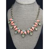 J. Crew Jewelry   Beautiful J.Crew Gold Tone Rhinestone Statement Necklace Pink Blue Green 18   Color: Gold/Pink   Size: 18