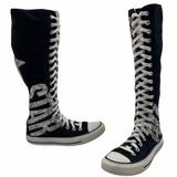 Converse Shoes | Converse Chuck Taylor Xx-Hi Knee High Sneaker In Black Glitter Letters Size W 7 | Color: Black/Silver | Size: 7