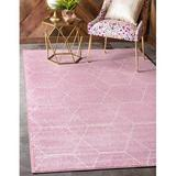 George Oliver Damary Frieze Collection Lattice Moroccan Geometric Modern Area Rug in Pink/White, Size 96.0 W x 0.33 D in | Wayfair