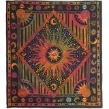 Bungalow Rose Hippie Mandala Sun & Moon Maditation Large King Tapestry Wall Hanging in Brown, Size 54.0 H x 60.0 W in   Wayfair