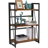 17 Stories Folding Bookshelf Home Office Industrial Bookcase No Assembly Storage Shelves Vintage 3 Tiers Flower Stand Rustic Metal Book Rack Organizer Vintage Wood
