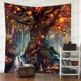 East Urban Home Forest Fairy Tales Tapestries Lanterns & Waterfalls Under Fantasy Large Tree Bohemian in Brown, Size 90.0 H x 84.0 W in   Wayfair
