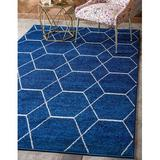 George Oliver Trellis Frieze Collection Lattice Moroccan Geometric Modern Area Rug in Blue/Navy/White, Size 96.0 W x 0.33 D in | Wayfair