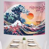 East Urban Home Ocean Wave Tapestry Sunset Tapestry Wall Hanging Japanese Kanagawa Tapestry Great Wave Cherry Blossom Nature Backdrop Tapestry For Japanese Party Wall