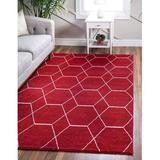 George Oliver Damary Frieze Collection Lattice Moroccan Geometric Modern Area Rug in Red/White, Size 96.0 W x 0.33 D in | Wayfair