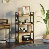 17 Stories Rolanstar 4 Tier Bookshelf, Industrial Wood Bookcase w/ 4 Hooks, Vintage Storage Rack w/ Open Shelves in Brown   Wayfair