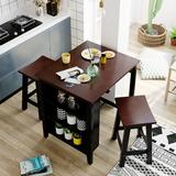 Red Barrel Studio® Wood 3-piece Counter Height Dining Kitchen Set w/ 2 Suspensible Stools, 3-tier Storage For Small Places in Black, Size 36.0 H in