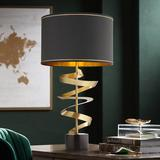 Possini Euro Twist Brass and Black Marble Table Lamp with Dimmer