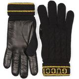 Wool Knit Gloves With Script - Black - Gucci Gloves