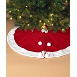 The Gerson Company Christmas Tree Skirts - Red & White Pom-Pom-Accent Tree Skirt