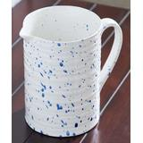 Hemsly Pitchers White, - White & Blue Speckle Ribbed-Texture Cottage Charm Pitcher