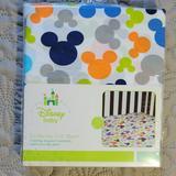 Disney Bedding | Disney Crib Sheet - Go Mickey | Color: Blue/White | Size: Baby - Crib Sheet