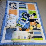 Disney Bedding | Disney 4pc Crib Bedding Set - Go Mickey | Color: Blue/White | Size: Baby- Crib Bedding