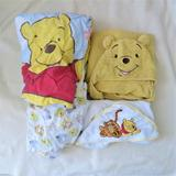 Disney Bedding | Disney Winnie The Pooh Crib Toddler Bed Sheets Blanket Hooded Towels Lot | Color: Orange/Yellow | Size: Crib