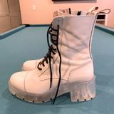 Zara Shoes | Lace Up Boots New | Color: White | Size: 7