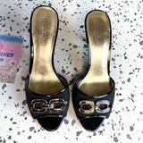 Coach Shoes   Coach   Black Logo Peep Toe Kitten Heel 7.5   Color: Black   Size: 7.5