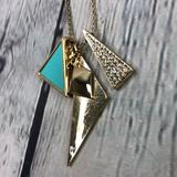 American Eagle Outfitters Jewelry   American Eagle Outfitters Gold Tone Multi Charm Geometric Necklace   Color: Blue/Gold   Size: Os