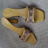 Gucci Shoes | Gucci Gg Canvas Mules High Heel Sandal Slides | Color: Brown/Yellow | Size: 8.5