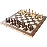 CROSTER Chess Set Olding Magnetic Wooden Standard Chess Game Board Set w/ Wooden Crafted Pieces & Chessmen Storage Slots, Size 2.2 H x 15.6 W in