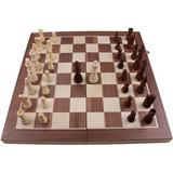 CROSTER Wooden Chess Set Folding Board, Handmade Portable Travel Chess Board Game Sets w/ Game Pieces Storage Slots Beginner Chess Set For & Adults