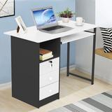 Latitude Run® Computer Desk Laptop Study Table Workstation Home Office Furniture w/ Drawer Wood/Metal in Black   Wayfair