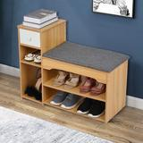 Latitude Run® 6 Pair Shoe Storage Cabinet Manufactured Wood in Yellow, Size 24.2 H x 31.5 W x 11.8 D in | Wayfair 0410553D057845FB99D1E82D3B7DF126
