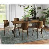 Corrigan Studio® Abdur-Rahmaan Dining Set Wood/Upholstered Chairs in Brown, Size 29.6 H in | Wayfair E4653996A3704A9283E5105310B3BDEA