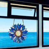 "Canora Grey Stained Glass Window Hangings,Handmade Tiffany Art Style Window Panel Sunflower w/ Chain 10.8""×10.6"" in Blue | Wayfair"