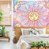 East Urban Home Pastel Tapestry Burning Sun Tapestry Mystic Tapestry Celestial Sun in Pink, Size 59.1 H x 82.7 W in | Wayfair