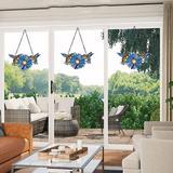 Bloomsbury Market Stained Glass Window Hangings, Handmade Tiffany Art Style Sunflower & Birds Window Panel For Window & Glass Door in Blue | Wayfair