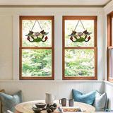 "Bloomsbury Market Tiffany Stained Glass Window Hangings 15"" X 8"" Handmade Lotus & 2 Birds Window Panel Sun Cacthers in Green | Wayfair"