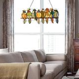 "Red Barrel Studio® Stained Glass Birds Window Hangings 23""X9"" Tiffany Craft Window Panels Sun Catcher Home Decor Ornament in Green | Wayfair"