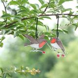 Canora Grey 2Pcs Stained Glass Bird Window Hangings, Painted Window Decoration, Garden Patio Decor Window Hangings For Home Garden Decor in Red