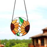 Canora Grey Sunflower Stained Glass Window Hangings,Sunflower Suncatcher,Stained Glass Panel,Home Decor,Garden Decor (Sunflower) in Orange | Wayfair