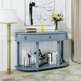 Longshore Tides Curved Half Moon Console Table w/ 1 Drawer, Antique White Wood in Blue, Size 30.0 H x 48.0 W x 16.0 D in | Wayfair