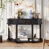 Longshore Tides Curved Half Moon Console Table w/ 1 Drawer, Antique White Wood in Black, Size 30.0 H x 48.0 W x 16.0 D in | Wayfair