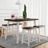 Rosalind Wheeler 5 Pieces Kitchen Dinning Table Set in White, Size 30.0 H in   Wayfair BA23B02AD32044C8B825CE9BED51711A
